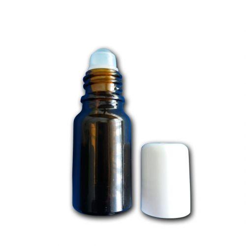 Frasco em vidro escuro 5ml com tampa roll-on. Para azamzenar e levar sempre consigo as suas próprias misturas de óleos essenciais.