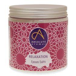Puros sais de Epsom infundidos com a mistura Relaxation da Absolute Aromas especialmente formulada, que inclui óleos essenciais de camomila, lavanda e tangerina, para ajudar a relaxar, descontrair e acalmar a mente!