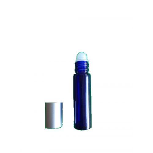 Frasco em vidro azul com tampa roll-on. Para ter sempre à mão o teu óleo essencial ou a tua sinergia preferida.