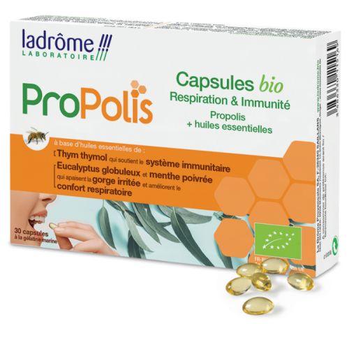 Cápsulas BIO com própolis e óleos essenciais  que suportam os sistemas respiratório e imunitário.
