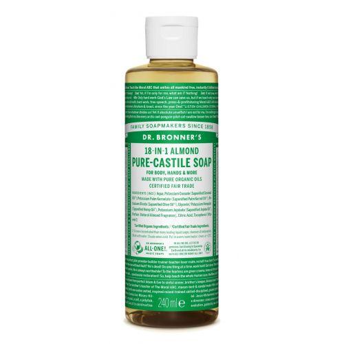 Puro Sabão de Castela com aroma suave a amêndoas. Limpa sem ressecar | Dr. Bronner's