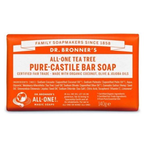 Puro Sabão de Castela com óleo essencial de tea tree - árvore do chá. Suave e eficaz, é perfeito para lavar o corpo, rosto ou cabelo. | Dr. Bronner's